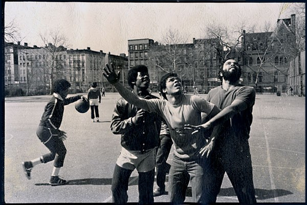 1979: Robert Siegal had left the Lower East Side for NYU, but returned to help local youth, naming his group after Officer Glover. In this photo, he plays basketball in Tompkins Square Park with his new clients.