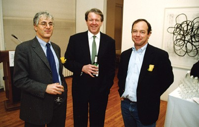 2000: Board members share a beer at a Glover Program cocktail party fundraiser. Pictured are Board Chair, Josh Baer, Vice-Chair Charles Radcliffe, and Glover's long-standing board Treasurer, Kempton Mandeville, who died in 2008.