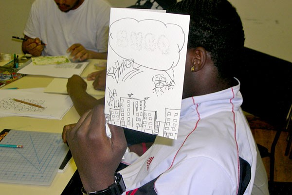 Pricking paper with pins allows the students to make greeting cards.